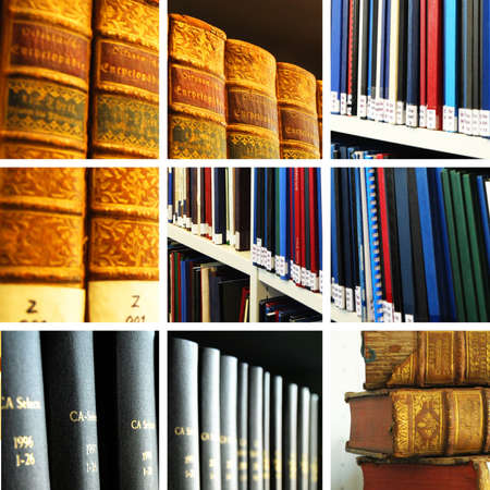 library collage with books showing education concept Stock Photo