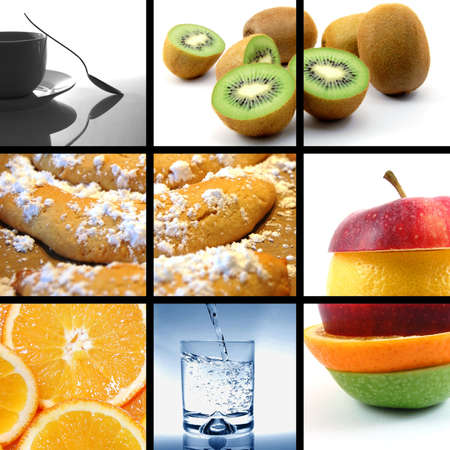food and drink images in a collage or collection Standard-Bild