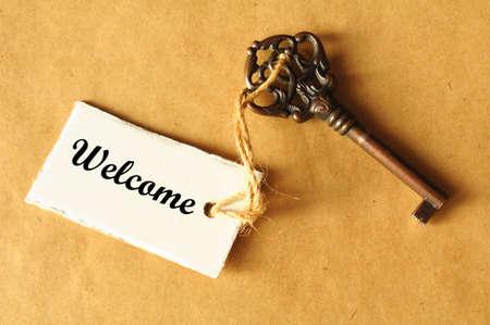 bienvenidos: concepto con clave de grunge antigua y la etiqueta o la etiqueta de la bienvenida
