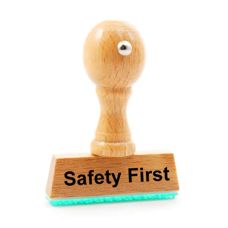 safety first concept with stamp in insurance office photo