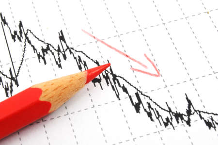 free fall of the stock market concept with red pen and business chart Stock Photo - 6907801