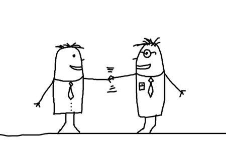 pacto: Ilustraci�n del hombre de negocios con apret�n de manos que muestra la ilustraci�n de contrato