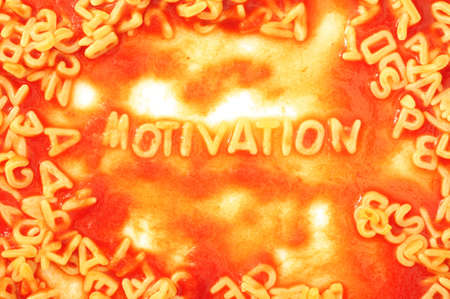 inducement: motivate or motivation business concept with red tomata pasta snack