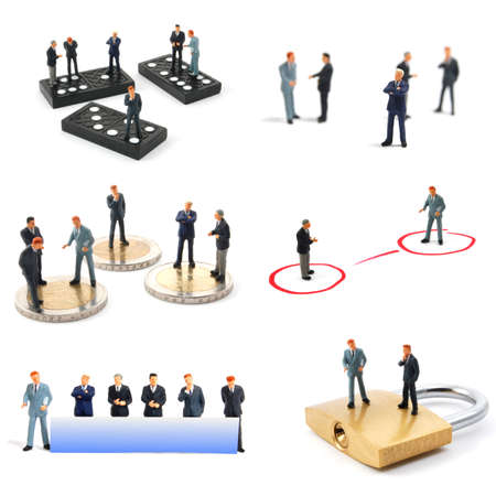 collection of small toy business man showing financial concept Stock Photo - 6995970