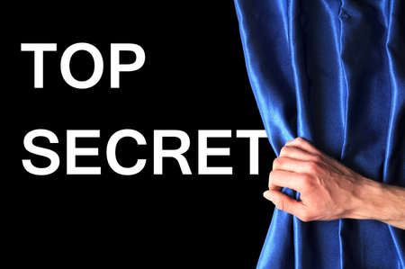 millitary: top secret concept with view behind blue curtain