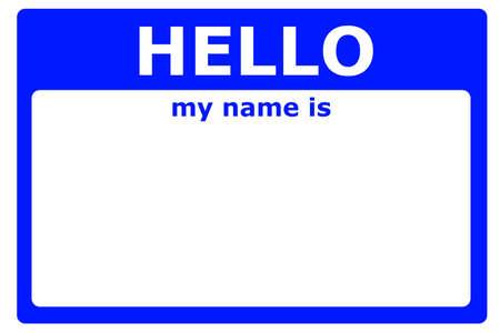 Hallo is mijn naam teken met lege witte copyspace voor SMS-bericht  Stockfoto