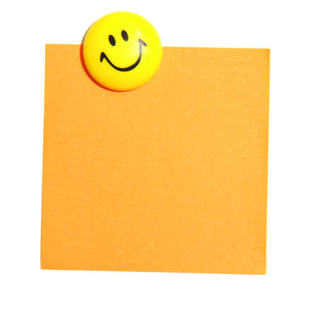 smiley face and blank paper with copyspace for your text message photo
