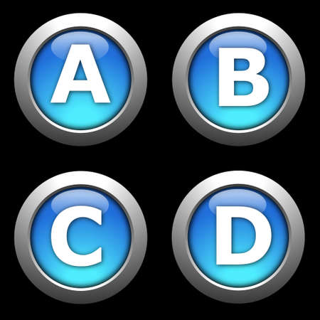 website buttons: alphabet button collection isolated on black background Stock Photo