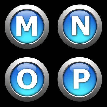 alphabet button collection isolated on black background Reklamní fotografie