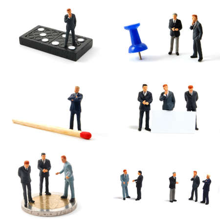figurines: tiny toy business man collection isolated on a white background
