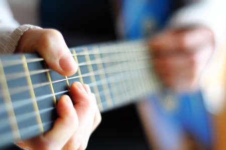 blue music guitar with blurry copyspace for your text message