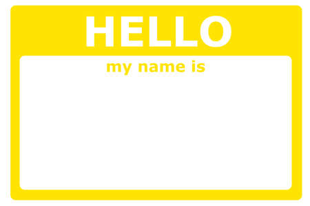 hello my name is sign with blank white copyspace for text message Stock Photo - 7010816