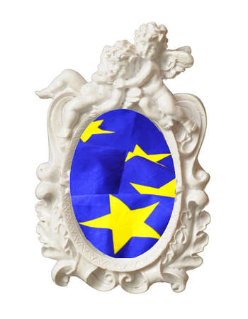 polity: european union or eu flag in a image frame isolated in white background Stock Photo