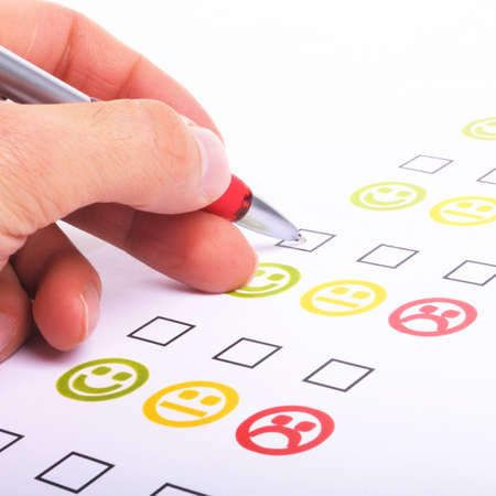 good feeling: customer satisfaction questionnaire showing marketing or business concept Stock Photo