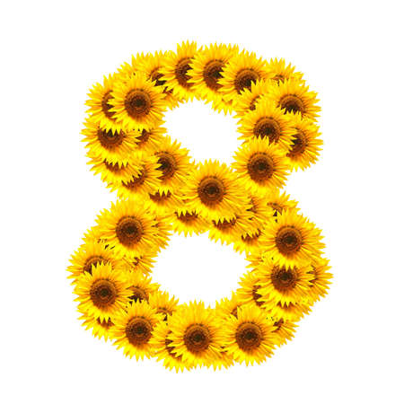 flower alphabet and numbers with sunflowers isolated on white background