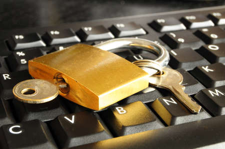 internet security concept with padlock on black keyboard Stock Photo - 7055771