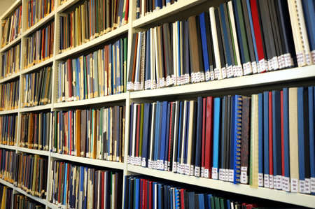bookshelf or book shelf in a university library photo