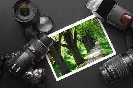 slr: vacation or travel image concept with camera and lens