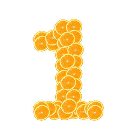 healthy orange fruit alphabet or font isolated on white background Stock Photo - 7092680