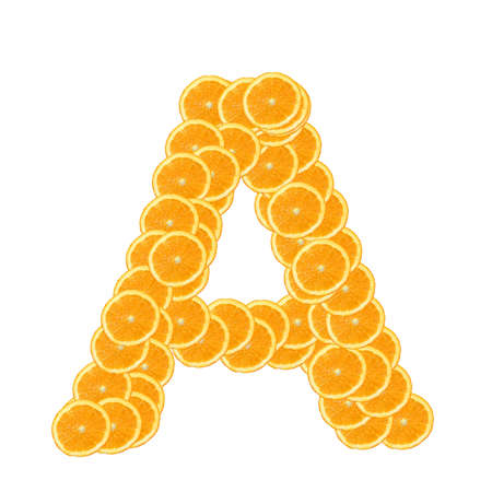 healthy orange fruit alphabet or font isolated on white background photo