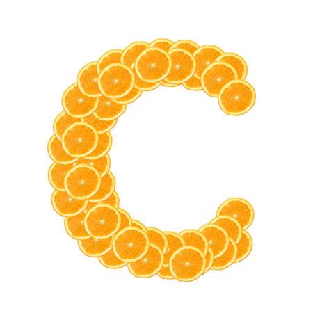 naranjas: alfabeto de fruta saludable de naranja o de la fuente aislada sobre fondo blanco