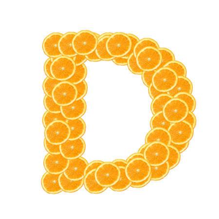 healthy orange fruit alphabet or font isolated on white background Stock Photo - 7092783