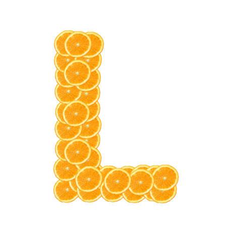 healthy orange fruit alphabet or font isolated on white background Stock Photo - 7092672