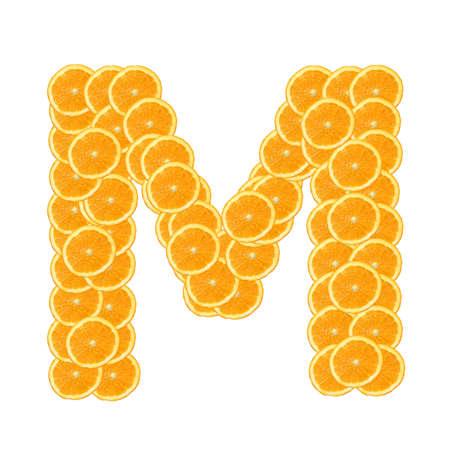 healthy orange fruit alphabet or font isolated on white background Stock Photo - 7092829