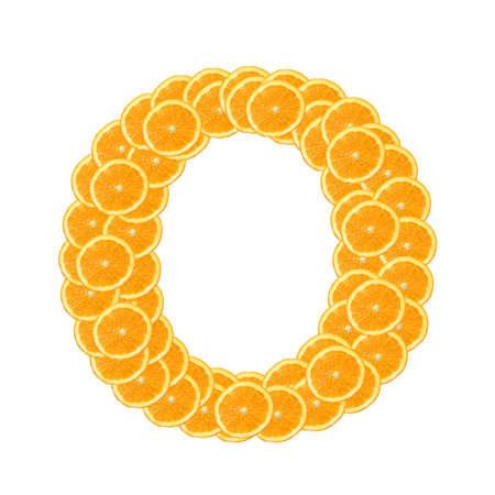 healthy orange fruit alphabet or font isolated on white background Stock Photo - 7092766