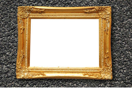 old blank and empty image frame with white copyspace  photo