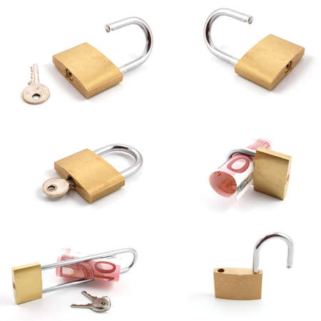money and padlock collection isolated on a white background Stock Photo - 7110942