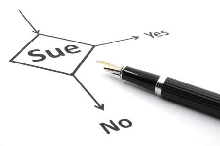 sue: sue lawsuit or law concept with flowchart and pen