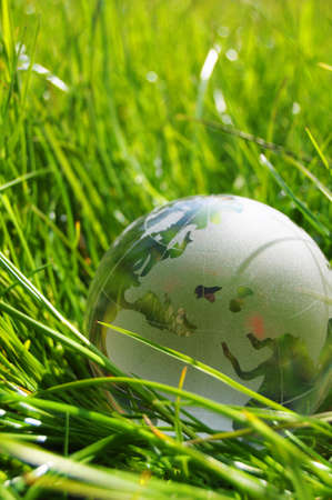 eco ecology or environmental concept with green grass globe and copyspace photo