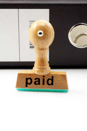 paid stamp: paid stamp in business office with copyspace showing bills concept
