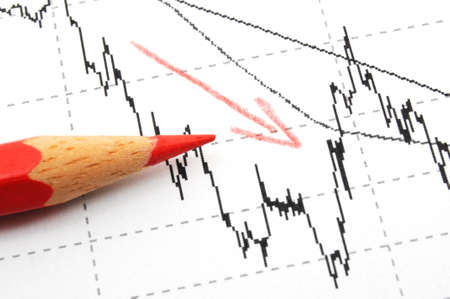 negative business data or chart showing financial crisis with red pen Stock Photo - 7183615