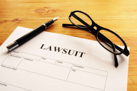 sue: lawsuit form or document in business office
