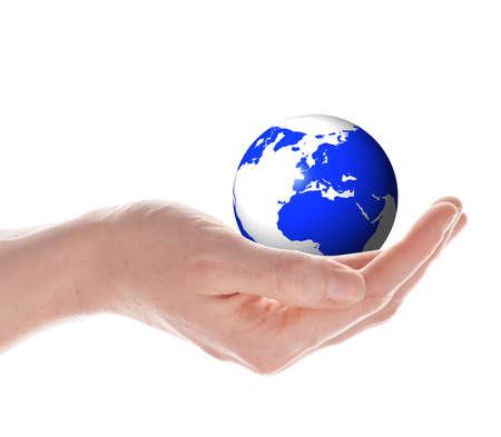 Mundo o globo en tus manos aisladas sobre fondo blanco  Foto de archivo - 7182779