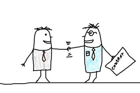 pacto: Ilustraci�n del hombre de negocios con apret�n de manos que muestra la ilustraci�n de contrato  Foto de archivo