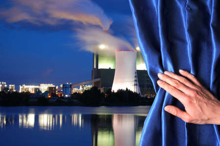 power plant and blue curtain showing pollution or energy supply concept Stock Photo - 7197286