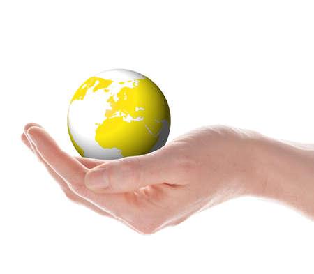 el mundo en tus manos: mundo o globo en tus manos aisladas sobre fondo blanco