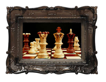chess and picture or image frame isolated on white background photo