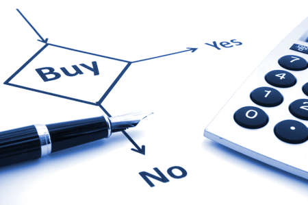 buy decision concept with flowchart and pen on white Stock Photo - 7208615