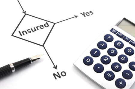diagrama de flujo: concepto de seguro o de riesgo con el diagrama de flujo y el l�piz