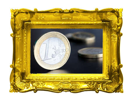 financial or money art concept with image frame photo