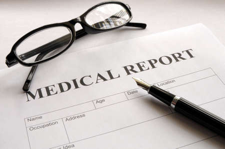 medical report: medical report form in doctors hospital office showing health concept
