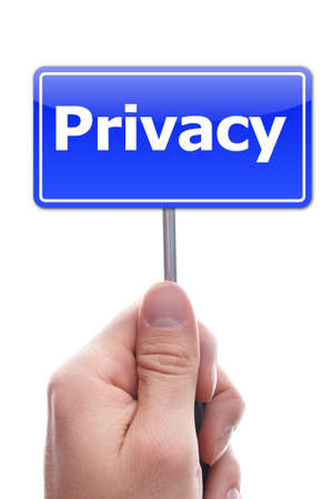 privacy concept with hand word and paper Stock Photo - 7280691