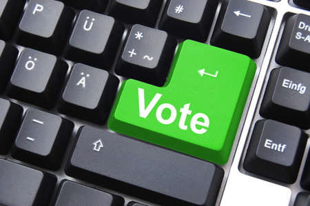 democracy concept with vote button on keyboard                                     photo