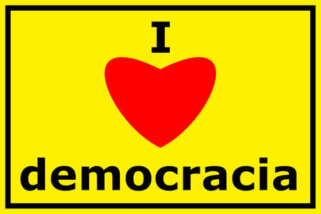 polity: i love democracy sigh with heart showing freedom concept