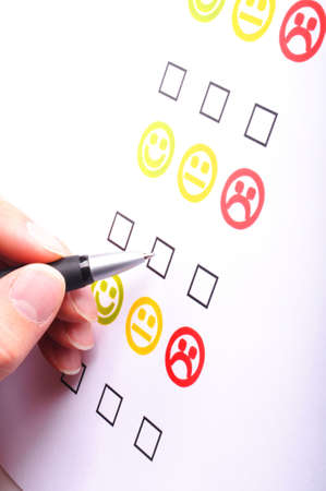 marketing interview with checkbox or tickbox and smilie Stock Photo - 7287383