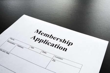 membership application form on desktop in business office photo